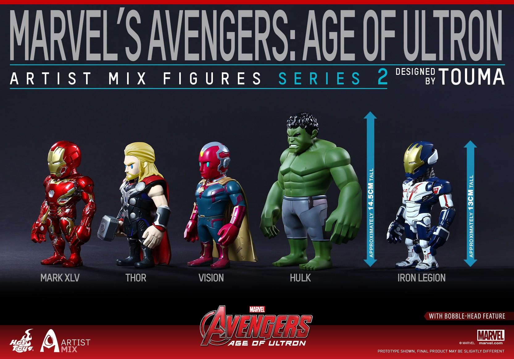 Hot Toys Artist Mix Touma Age of Ultron Avengers Hulk Mark 45 XLV Thor Vision