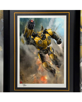 P1 Bumblebee Battle Mask Art Print (Framed)